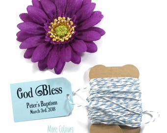God Bless Favor Tags 20pc - Thank You Tags for Confirmation - Small Light Blue Baptism Tags - Personalized Baby Boy Christian Labels