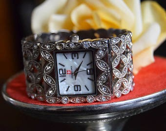 Vintage Art Deco marcasite Swiss watch bracelet 1920's  downton Abbey Gatsby