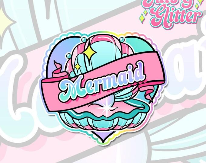Mermaid Heart Holographic Sticker