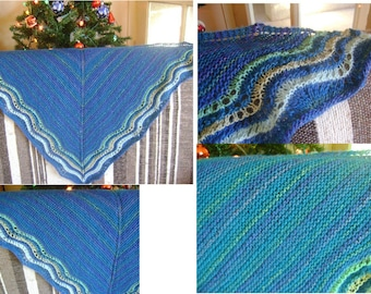 Small knit shawl handmade in shades of blue size 1 m 20 X 58