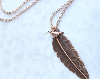 Copper Feather and Bird in Flight Necklace, Woodland, Swallow, Nature, Boho, Native American