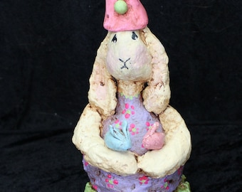 Easter Bunny Papier Mache with Polymer Clay Hat and Bunnies
