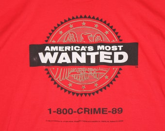 XL * vtg 80s 1988 America's Most Wanted tv show t shirt * 56.146