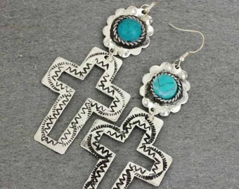 ASSORTED COLORS - Turquoise Cross Cutout Earrings