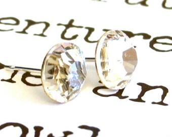 7mm Swarovski clear crystal stud earrings, clear Swarovski crystal post earrings, birthday gift, bridesmaid gifts