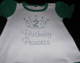 Birthday Princess with Crown and Number  Rhinestone 2 piece outfit