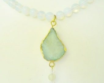Opalite Necklace Druzy Quartz Mint Green Beaded Necklace  Gold Bezeled & Alabaster Swarovski Crystals