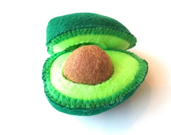 Felt food Avocado set (large) eco friendly children's felt play food for kids toy kitchen pretend play, felt avocado, toy avocado