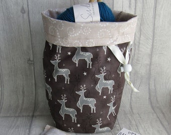 Reindeer Knitting Project Bag, Reindeer Crochet Bag, dice bag, sock project bag, wip bag, drawsting bag, crochet, weaving, embroidery,