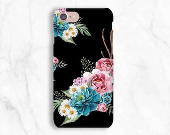 Bohemian iPhone 7 Plus Case floral, iPhone 7 case daisy, Samsung galaxy S8 case, iPhone 6S Case flowers, iPhone 8 Case black boho flowers
