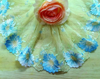 """DN714-7 """" Lt Yellow Embroidered  Tulle Mesh Lace Trim by Yard"""