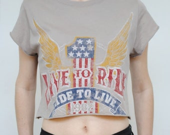 Rebel Republic: LIVE TO RIDE Vintage 90's style Cut-Off Crop