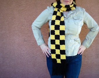 Big Checkers Scarf, Yellow and Black Checkered Scarf for Men or Women, Autumn, Unisex Scarf, Warm, Winter Scarf, Crochet, Crocheted Scarves