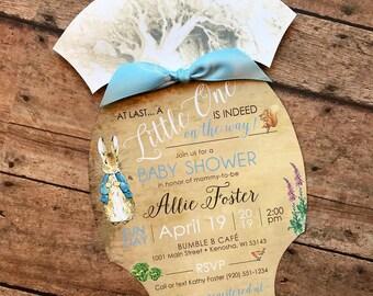 Peter Rabbit Baby Shower Invitation, Onesie Baby Shower Invitation, Spring Garden Baby Shower Invitation, Little One Baby Shower Onesie