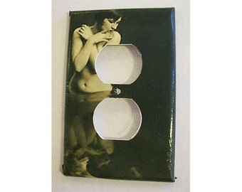 vintage Paris nude switch plate cover 1920s retro burlesque pin up girl outlet mature