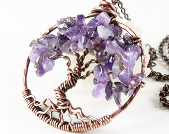 Amethyst Tree of Life Necklace, copper wire wrap, rich purple gemstone, talisman necklace, Mother's day, February birthstone, gift for her
