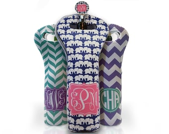 Personalized Wine Bottle Tote Bag • Monogrammed, design your own
