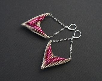 Pink Earrings, Pink Chevron Earrings, Pink Silver Earrings, Geometric Earrings, Puffy Earrings, Posh Earrings, Elegant Jewelry, Chic Jewelry