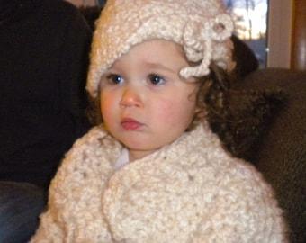 Crocheted Sweater Cloche Toddler Girl 2T 3T Super Bulky Acrylic Mohair Yarn