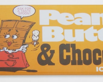 Peanut Butter and Chocolate Ice Cream Sign Fridge Magnet (1.5 x 4.5 inches)