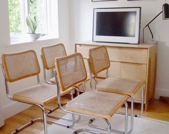 4 Mid-late Century Vintage Marcel Breuer Cesca B32 Conran Italian Wicker & Polished Chrome Cantilever Office Dining Bedroom Chair