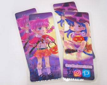 Holographic double sided Bookmark - Halloween (Original art)