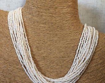 White Ivory Beaded Necklace Strand
