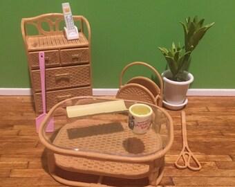 Plastic Dollhouse Furniture 1:12 Scale Miniatures Dresser, Phone, Table, Plant
