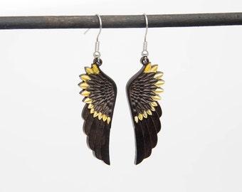 Wooden black angel wing earrings Gift to girl Wood jewelry Lightweight earrings Long wing earrings Wooden jewelry Hanging black wing earring