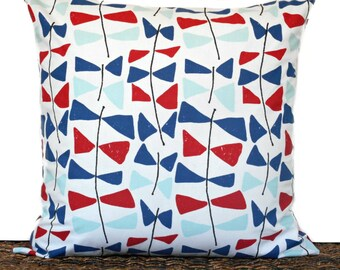 Nautical Pillow Cover Cushion Coastal Kitetails Red White Navy Seafoam Patriotic Fourth of July Repurposed Decorative 18x18