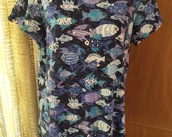 Vintage 80s Fish Print Super Soft Boat Neck Top