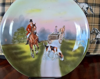 Vintage Royal Bayreuth Plate 24, Red-Coated Huntsman in Early Fall