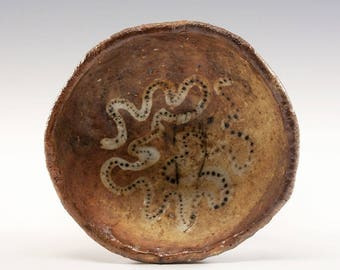 Hand Pinched Footed Wood Fired Bowl by Jenny Mendes - White Snake