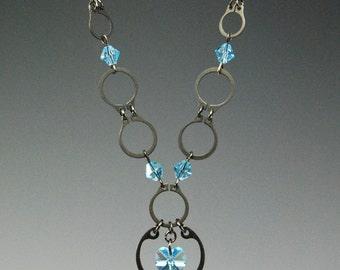 Industrial Elegance... Aquamarine Submission  Necklace Earring and Bracelet Set