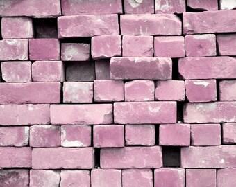 Lilac Bricks Photograph Pink Purple Girly Home Decor 10x8 print Build Me A Castle...