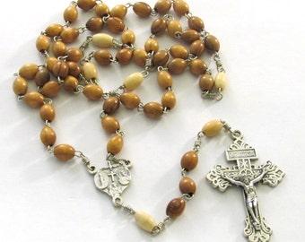Catholic Handmade Two-Tone Wood Bead Rosary with Indulgenced Pardon Crucifix & Four Way Medal