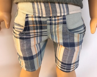 Blue plaid Bermuda shorts for 18 inch boy or girl dolls 18 inch boy doll clothes