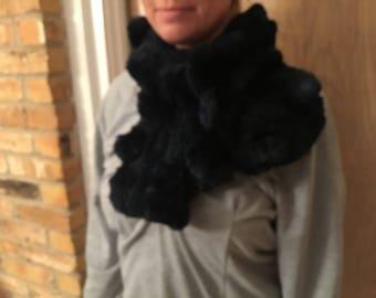Jocelyn Dark Blue Rabbit Fur Scarf
