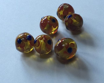 Sunny Flowers - Floral Lampwork Beads - 14mm - 6 beads
