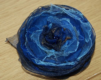 Oganza Brooch Blue Brooch Women Organza accssory flower Brooch
