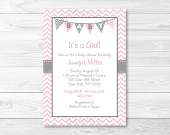 Cute Chevron Baby Shower Invitation / Chevron Baby Shower Invite / Chevron Pattern / Pink Baby Shower / Baby Girl Shower / PRINTABLE A201