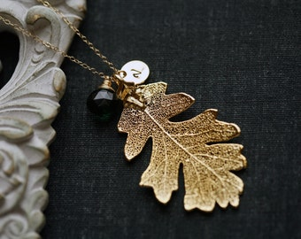 Gold oak leaf necklace,Gold filled Necklace,Rearl leaf Necklace,bridesmaid gifts,Wedding Jewelry,Birthday,Anniversary,Daily Jewelry