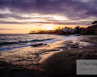 Orange County Sunset Print - Laguna Beach Canvas Prints, Laguna Beach Wall Art, Large Home Decor, Black and White Photo, Framed, Wood, Metal