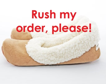 Rush order add-on for slippers and shoes