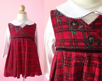 Vintage Red Plaid Corduroy Jumper/Top Set (Size 2T)