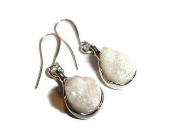 White crystal earring White Druzy Core Earrings Crystal Teardrop Earrings Teardrop Druzy earrings Gemstone Pendant Earrings Silver Druzy