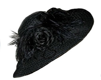 Victorian Hat in Black with Ostrich Feathers and Rose
