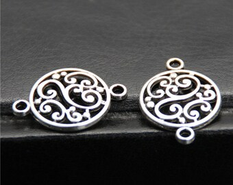 30pcs Antique Silver Filigree Flower Round Connector Charm Charms Pendant A2617