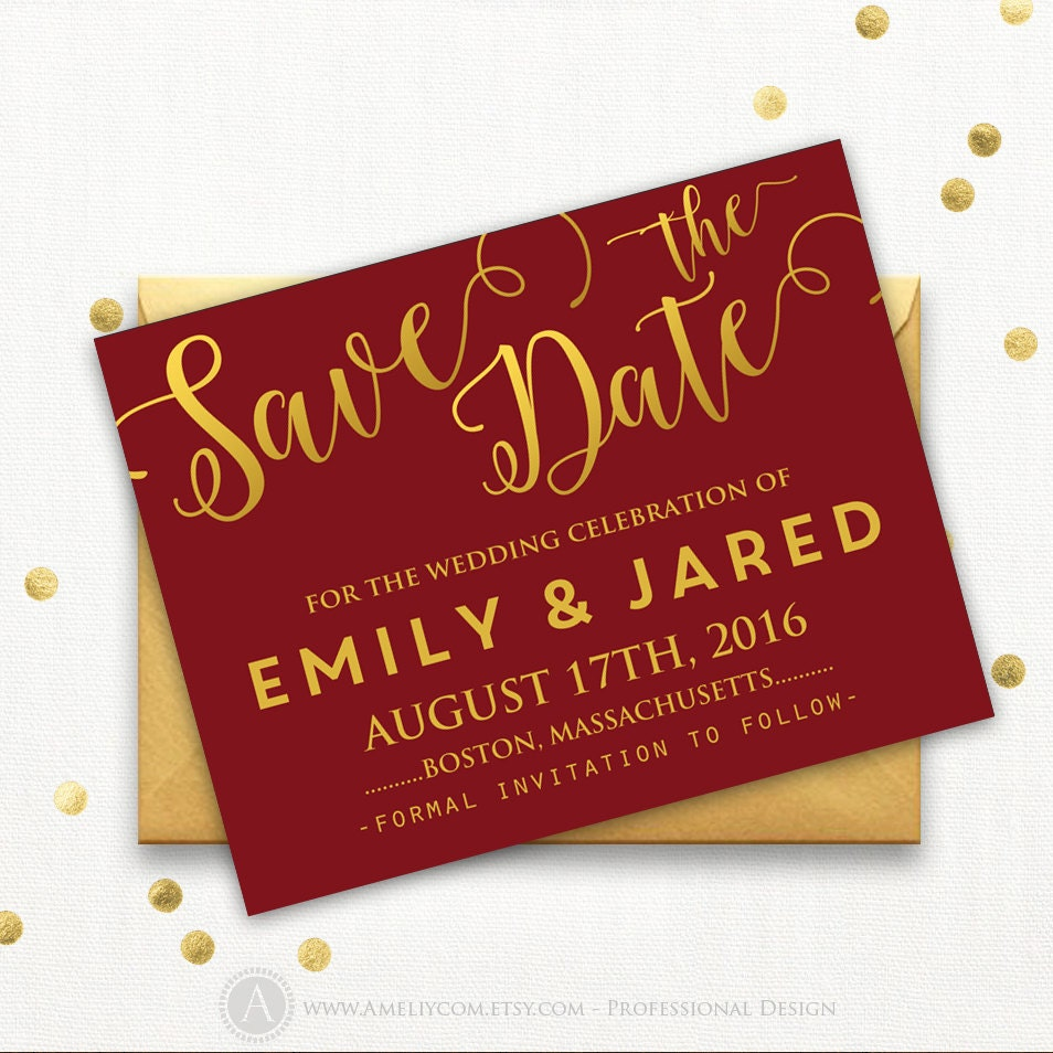 Printable Burgundy Gold Save the Date Card Wedding Save the