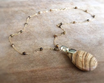 Brown Necklace - Tigers Eye Gemstone Jewellery - Pendant Jewelry - Gold Chain